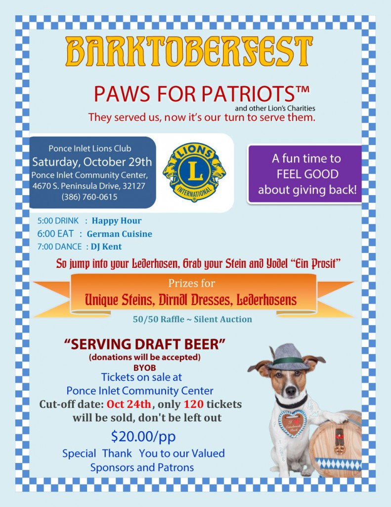 Ponce Inlet Lions Club Barktoberfest 2016